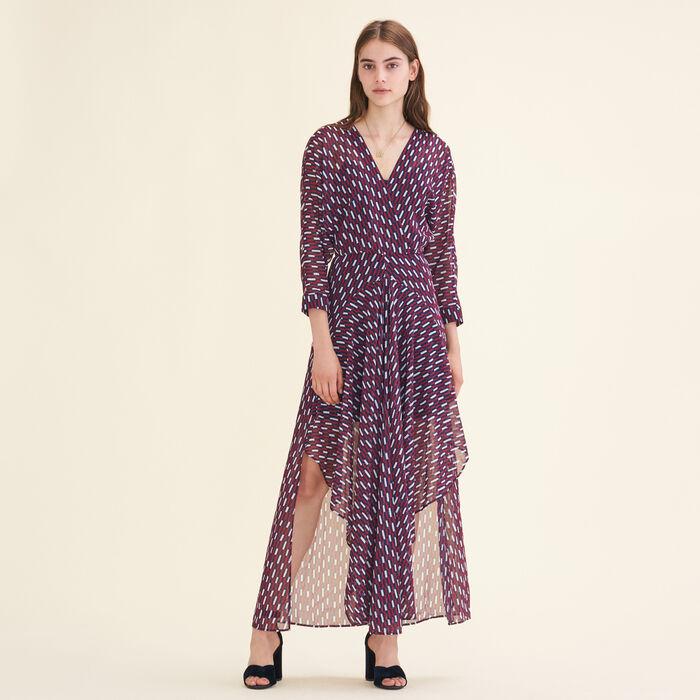 Langes Kleid mit grafischem Motiv - Kleider - MAJE
