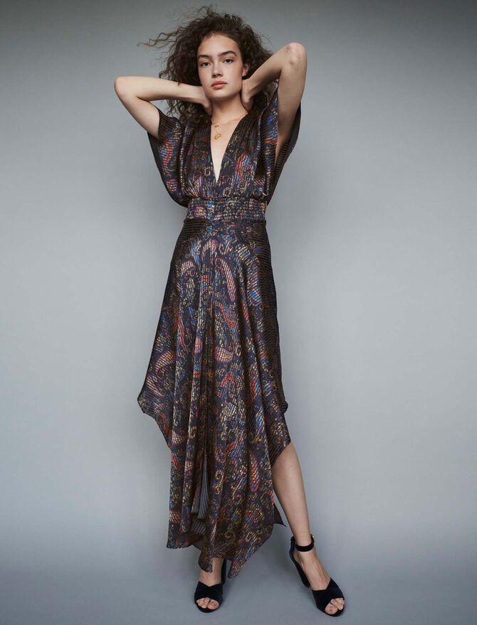 Gesmoktes Foulard Kleid mit Print -  - MAJE