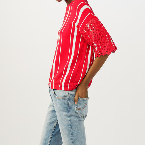 Gestreiftes T-Shirt mit Spitzenärmeln : Strickwaren farbe ROUGE