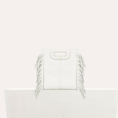 M mini Tasche mit Fransen aus Leder : Sommerkollektion farbe Weiss