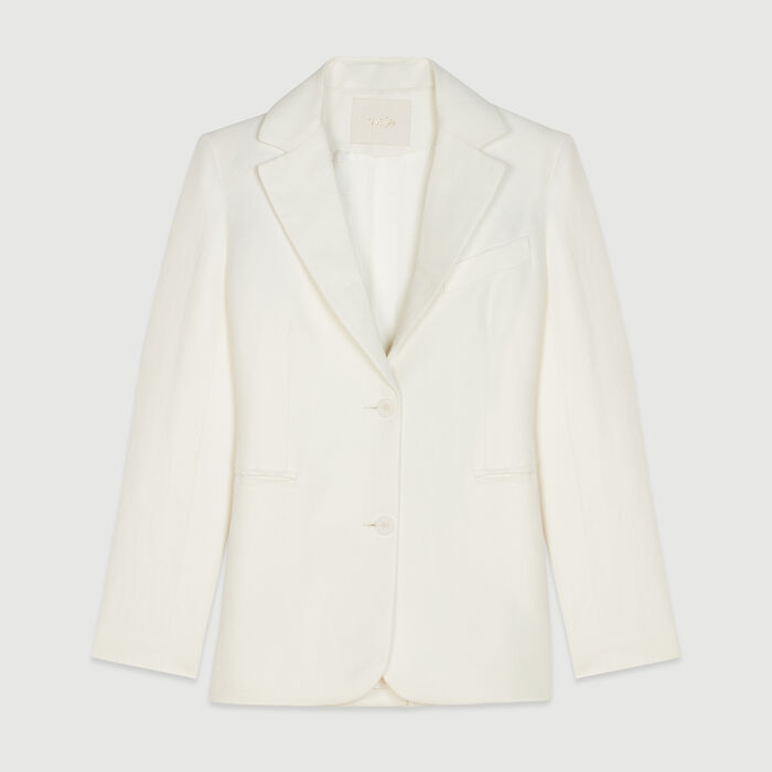 Tailor's jacket in mixed linen : Alles einsehen farbe Weiss