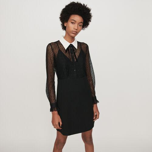 Guipure und Krepp Kleid mit Kragen : Kleider farbe Schwarz