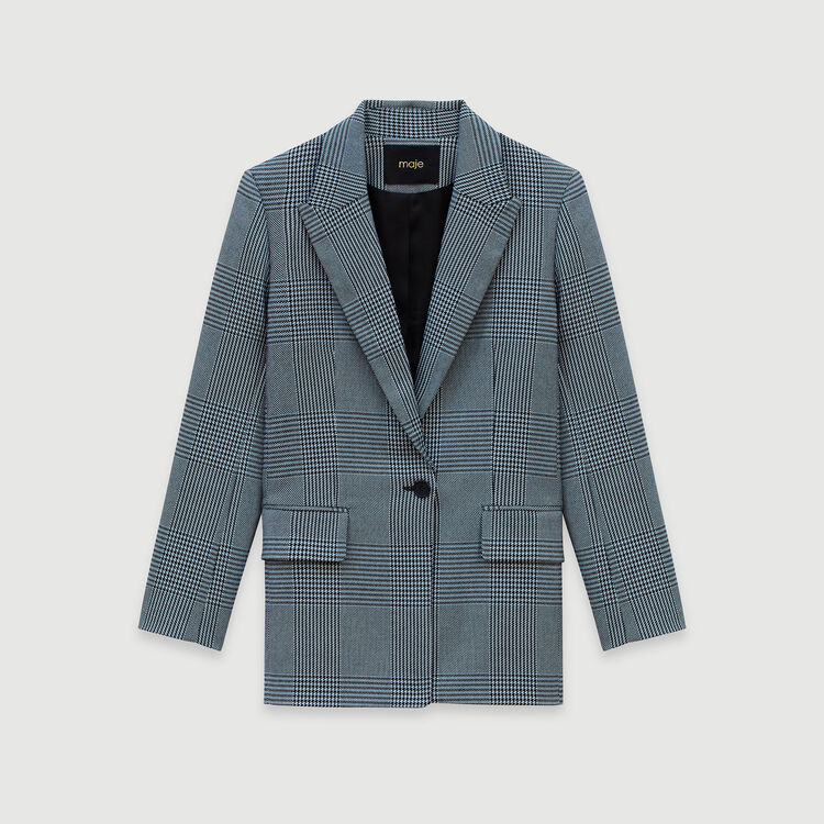 Gerade Karo Jacke : Blazers farbe Blau