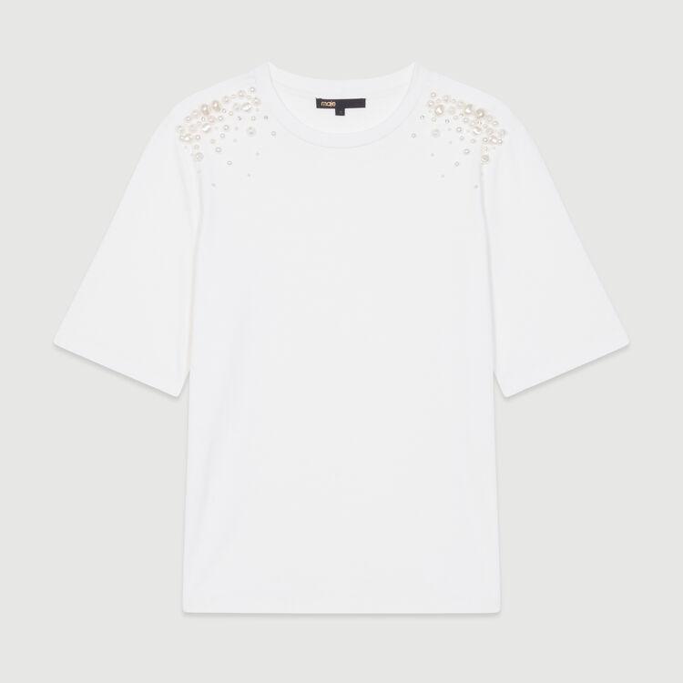 Baumwoll-T-Shirt mit Perlendetails : T-Shirts farbe Weiss