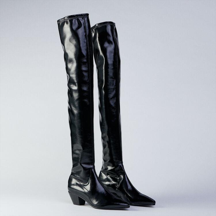 Stretch Overknees mit Absatz : Stiefel & Boots farbe Schwarz