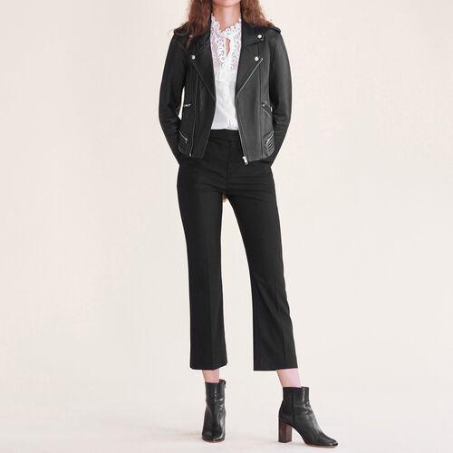 Elegante Hose aus Wolle : Hosen farbe Schwarz