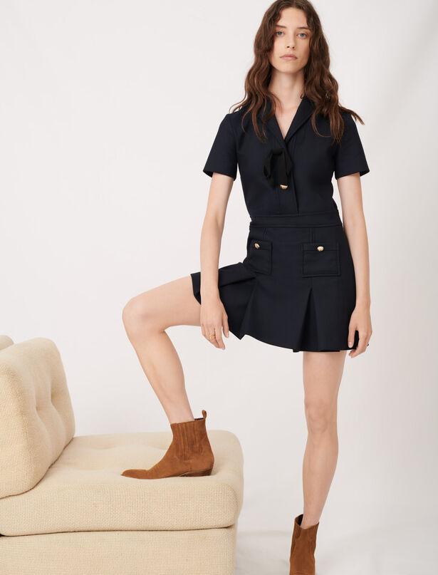 마쥬 원피스 MAJE College-Kleid mit modischen Knoepfen,Marineblau