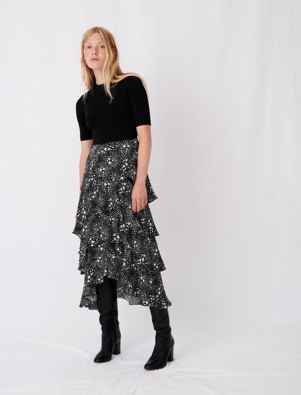 마쥬 원피스 MAJE Trompe-loeil-Kleid mit Foularddruck,Mix Etoiles Noir Blanc