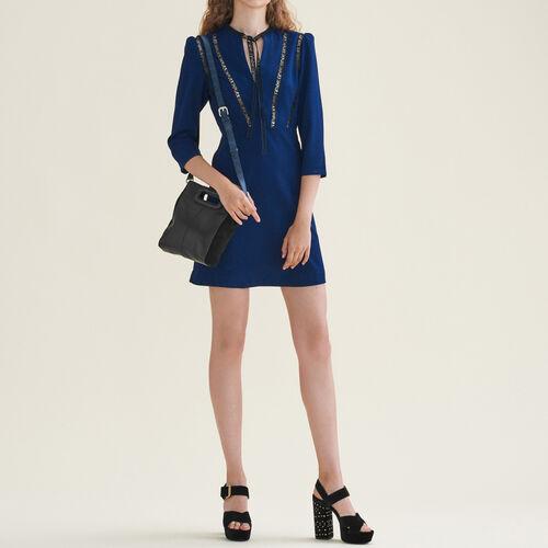 Kurzes Kleid AMOUR mit Borte : Kleider farbe Nachtblau
