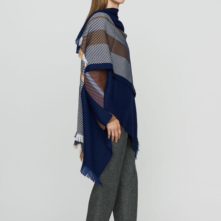 Poncho aus Jacquard-Strick : Schals & Ponchos farbe Mehrfarbigen