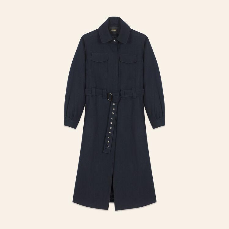 Abrigo largo de lana : Manteaux farbe Nachtblau