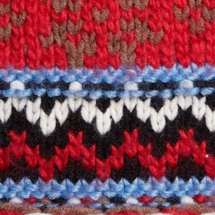 M-Tasche aus Strick und Leder : Leder farbe Blau