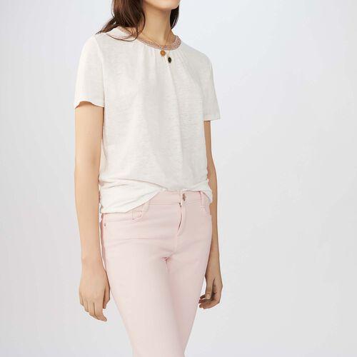 Flax t-shirt with lurex : T-Shirts farbe Schwarz