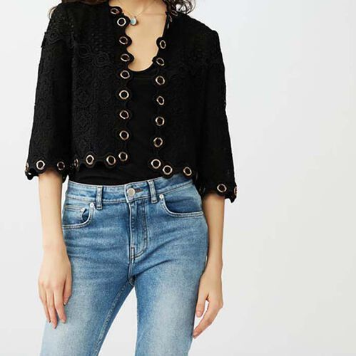 Lace jacket with eyelets : Strickwaren farbe Schwarz
