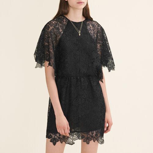 Kurzes Kleid aus Gipüre : Robes farbe Schwarz