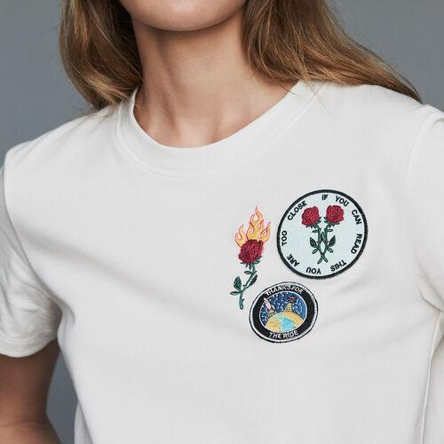 Baumwoll-T-Shirt mit Aufnäher : T-Shirts farbe Schwarz