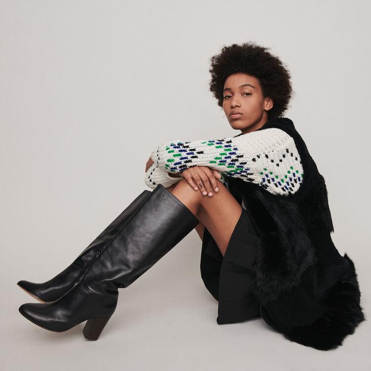 Stiefel aus Glattleder mit Absatz : Stiefel & Boots farbe Schwarz