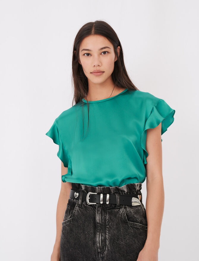 Ärmelloses Shirt mit Volants - T-Shirts - MAJE