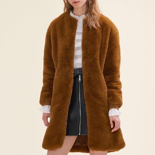 Mantel aus Kunstpelz : Manteaux farbe Karamell