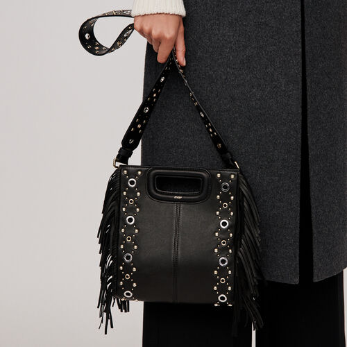 Leather M bag with eyelets : M Tasche farbe Schwarz