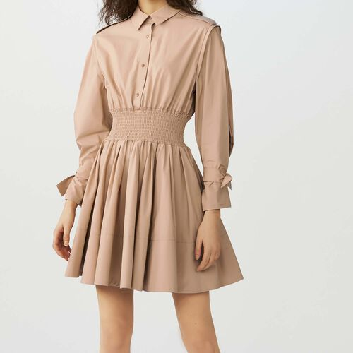 Dress with smocked waist : Kleider farbe Beige