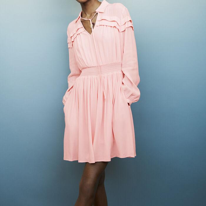 Kurzes Krepp-Kleid mit Volants : Kleider farbe LILA