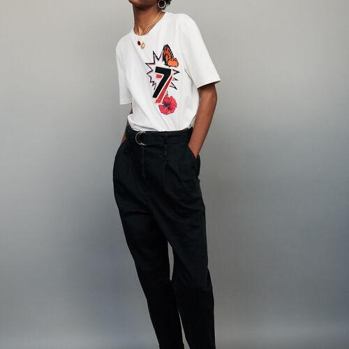 Baumwoll-T-Shirt mit 77-Stickerei : T-Shirts farbe ECRU