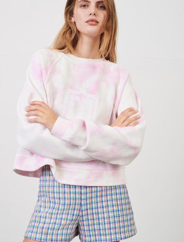 마쥬 타이다이 맨투맨 MAJE Sweatshirt mit Tie-&-Dye-Print,Rosa