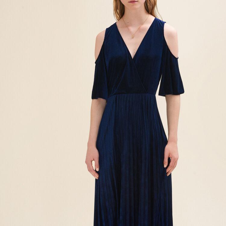 Vestido plisado con hombros descubiertos : Robes farbe Nachtblau