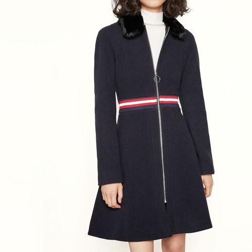 Mantel mit Pelzkragen : Mäntel farbe Marineblau