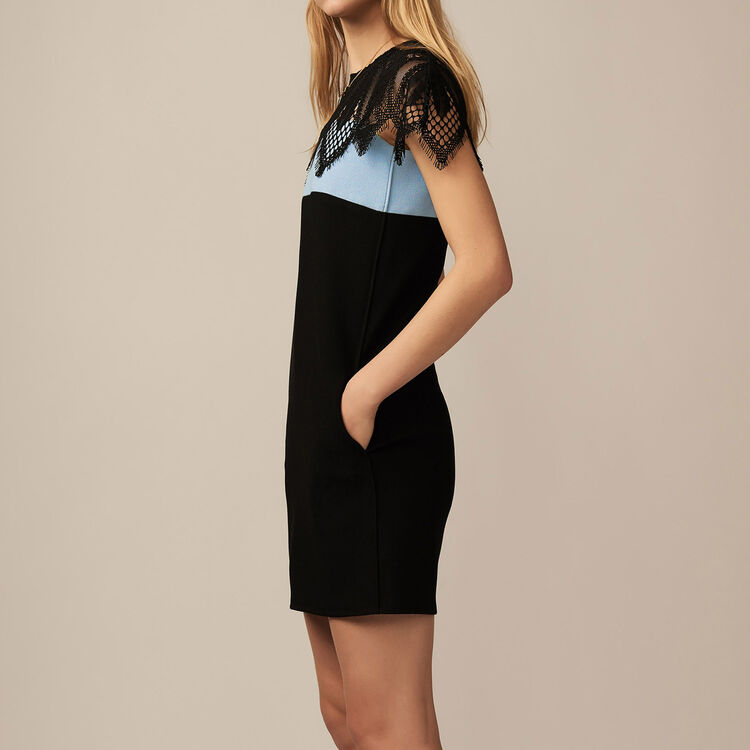 Zweifarbiges Kleid mit Spitzendetail : Kleider farbe BLEU CIEL