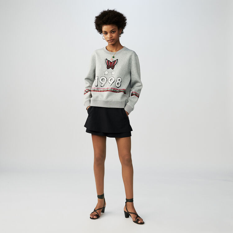 Baumwoll-Sweatshirt mit Pailletten : Sweatshirts farbe Grau