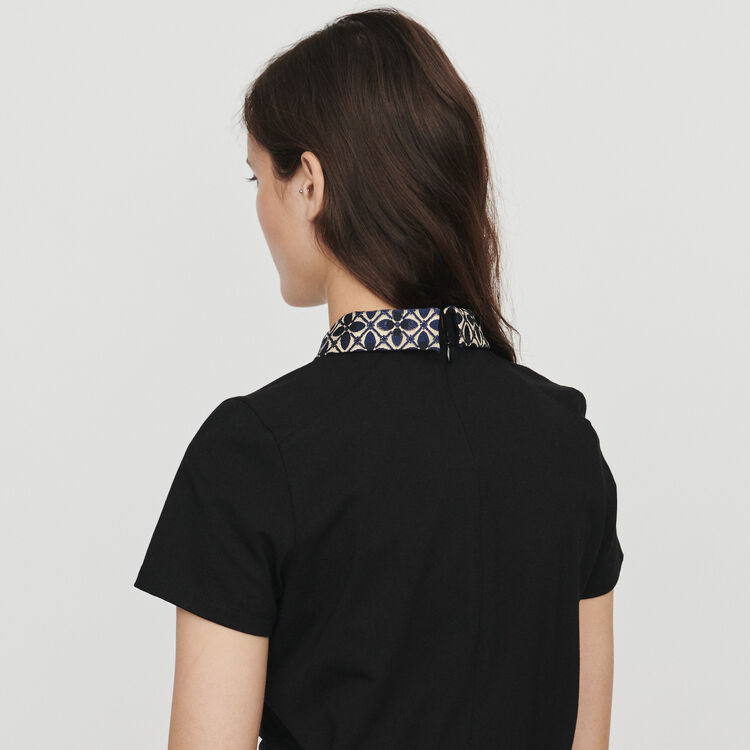 T-shirt with contrast collar & jewels : T-Shirts farbe Schwarz
