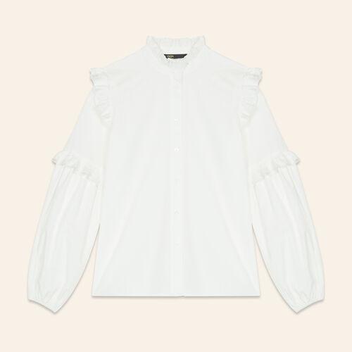 Hemdbluse aus Popeline mit Volants : Tops farbe Weiss