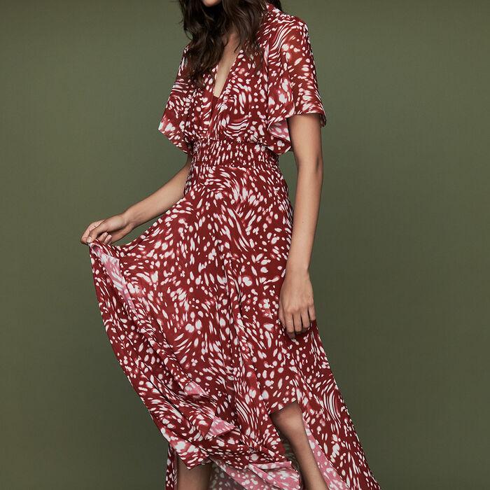 Langes asymmetrisches Print-Kleid : Kleider farbe IMPRIME