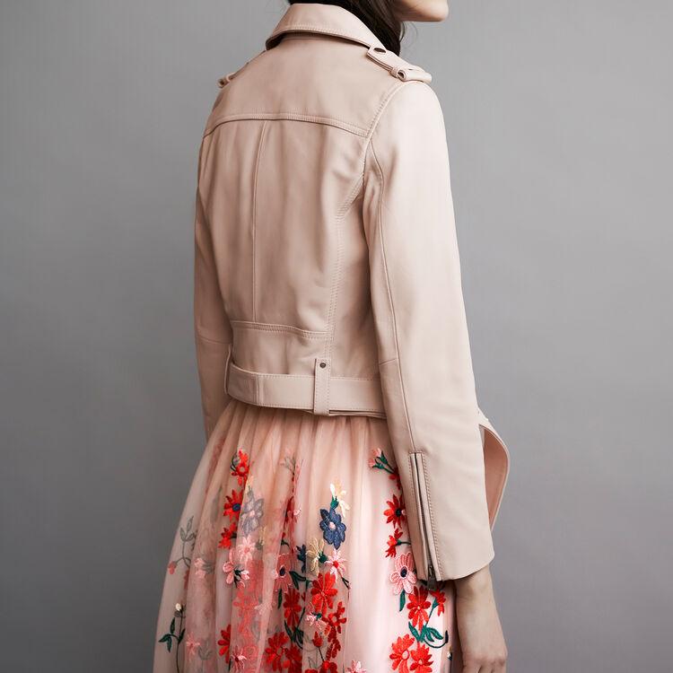 Leather jacket with belt : Jacken farbe Fleisch