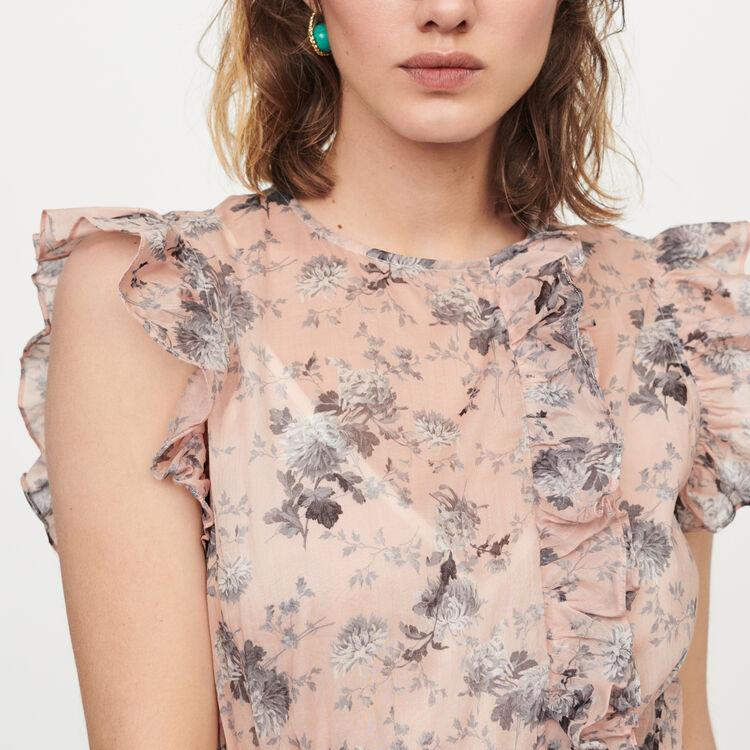 Langes Kleid aus bedruckter Baumwolle : Kleider farbe Fleisch