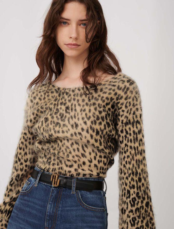 Mohair-Pullover mit Animalprint - Pullover & Strickjacken - MAJE