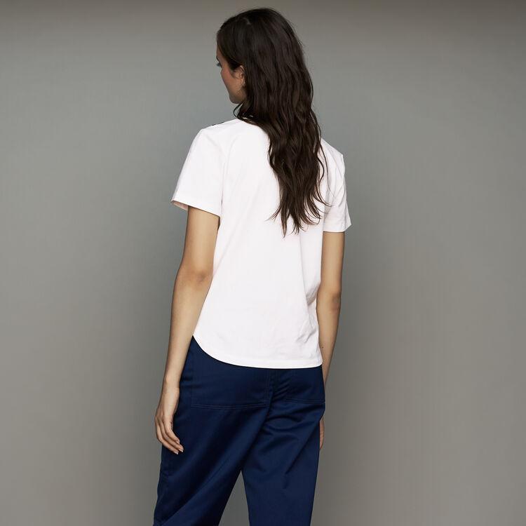 Baumwoll-T-Shirt mit Stickereien : Urban farbe Weiss
