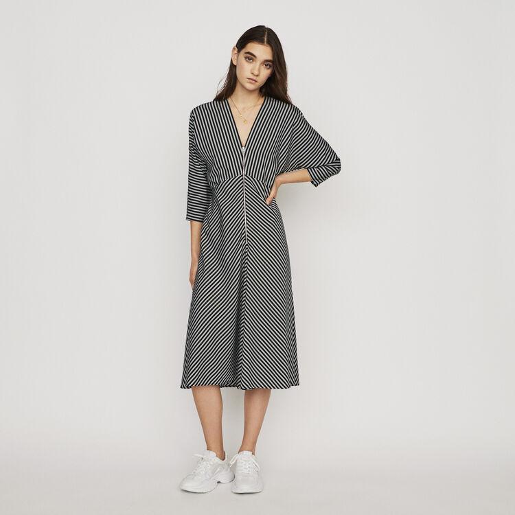Midi-Kleid mit Streifen : Kleider farbe Gestreift