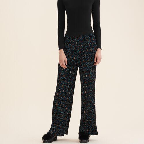 Plissee-Hose mit Blumenaufdruck - Hosen - MAJE