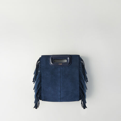 Mini M Tasche aus Velour mit Kette : M Mini farbe Marineblau
