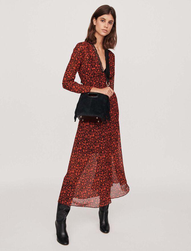 Foulard Kleid aus bedrucktem Musselin -  - MAJE