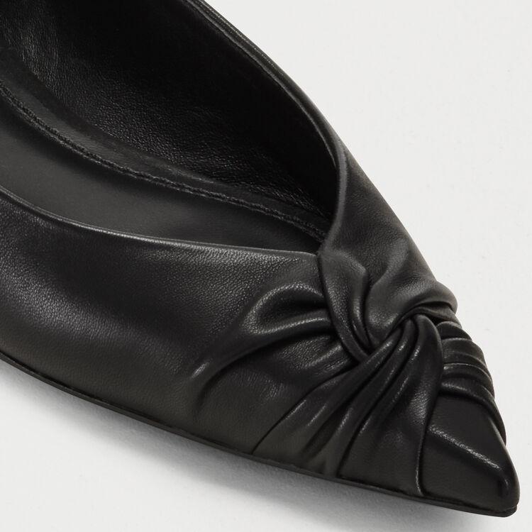 Flache drapierte Leder-Pumps : Tartan farbe Schwarz