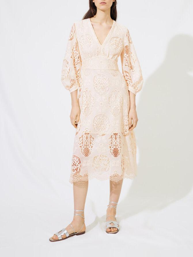 Dekolletiertes Kleid aus Guipure-Spitze - Kleider - MAJE