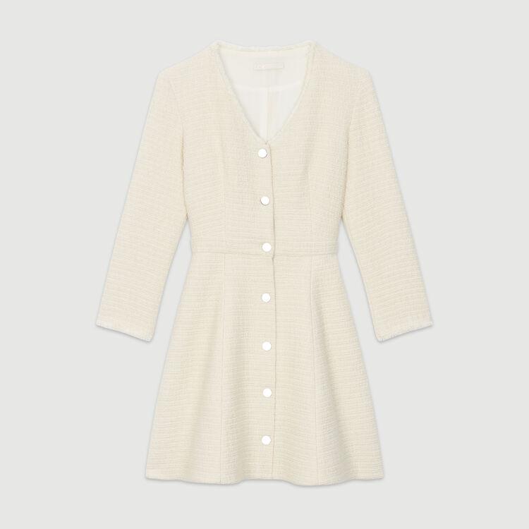 Trapez-Kleid aus Tweed : Kleider farbe Ecru