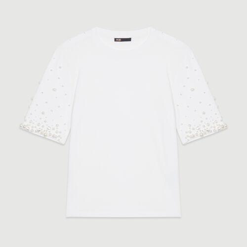 Baumwoll-T-Shirt mit Perlen : T-Shirts farbe Weiss