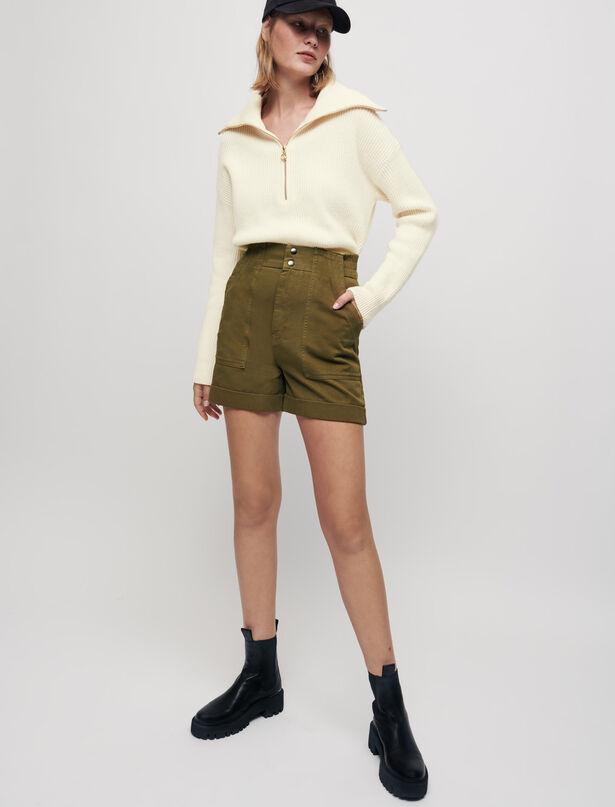마쥬 반바지 MAJE Khakifarbene Shorts aus Baumwollgewebe