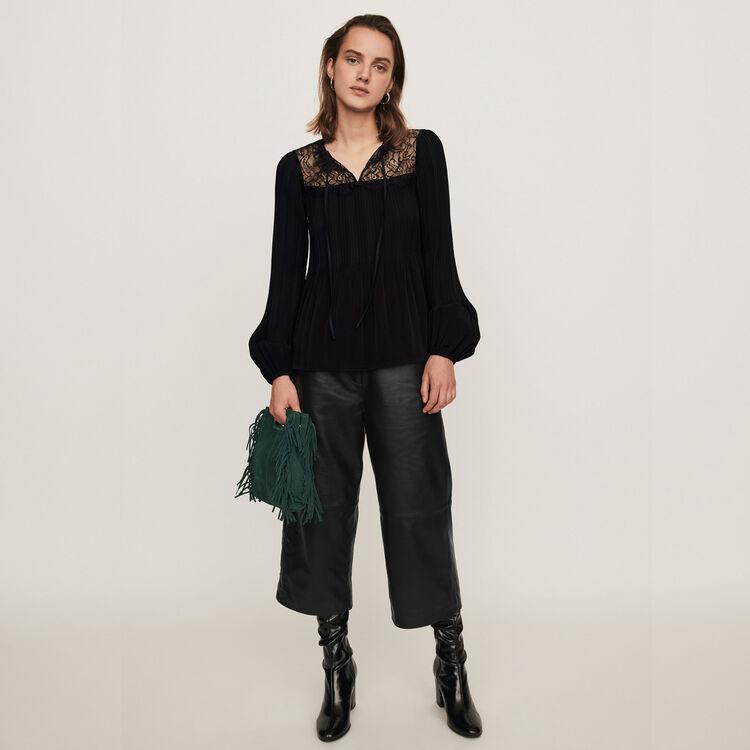 Plissee Top mit Spitzen Einsätzen : Tops & Hemden farbe Schwarz