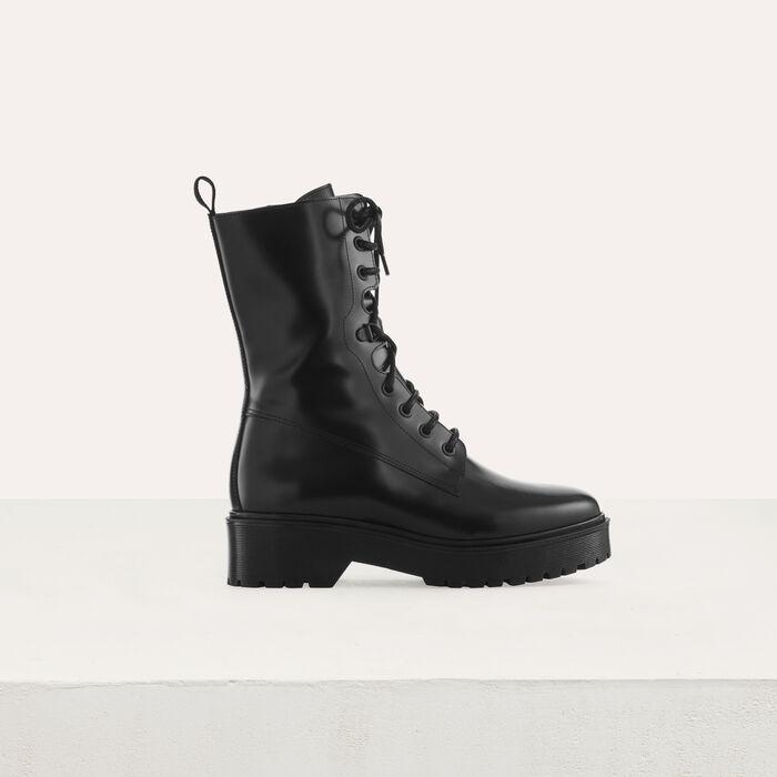 Ranger-Stiefel aus Leder : Stiefel farbe Schwarz